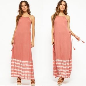 NEW Pink Tie Dye Lace Up Maxi Dress